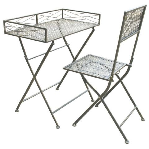 Black Metal Portable Folding Chair & Writing Desk or Side Table H 80 x W 70cm